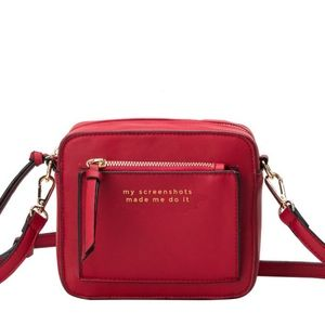 MADE ME DO IT QUOTE CROSSBODY -  RED KISS